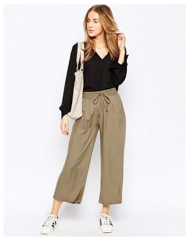 ASOS Wide Leg Cropped Trousers - Khaki