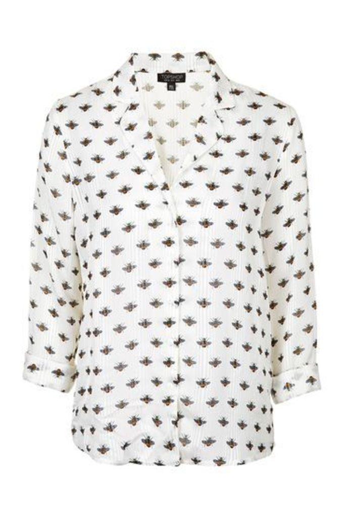 Womens PETITE Bee Pyjama Style Shirt - Ivory, Ivory