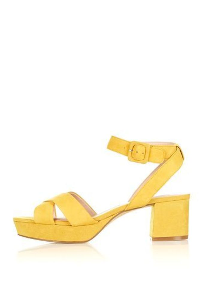 Womens LULU Low Cross Strap Platform Sandals - Mustard, Mustard