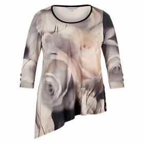 Chesca Misty Rose Asymmetric Tunic Top, Grey/Nude