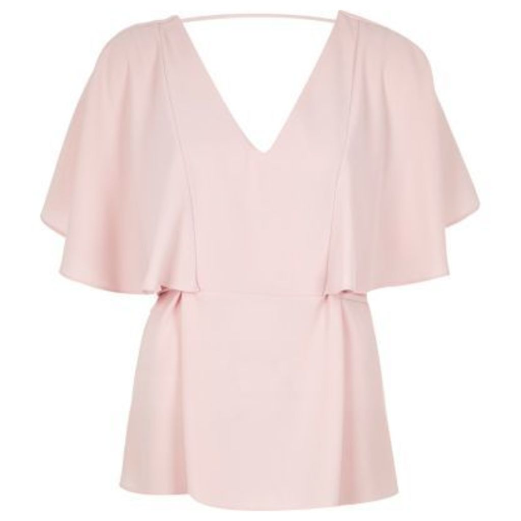 River Island Womens Light Pink cape back V-neck t-shirt