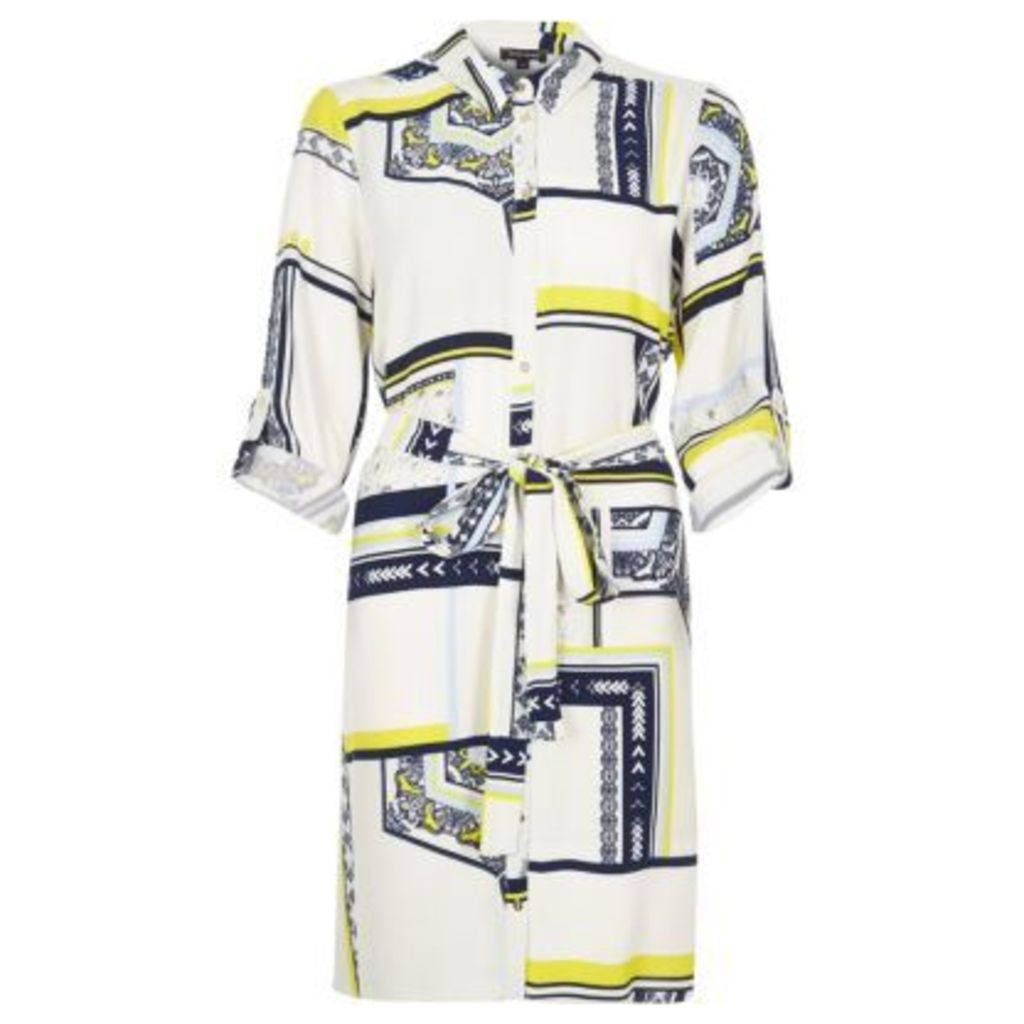 River Island Womens White printed shirt dress