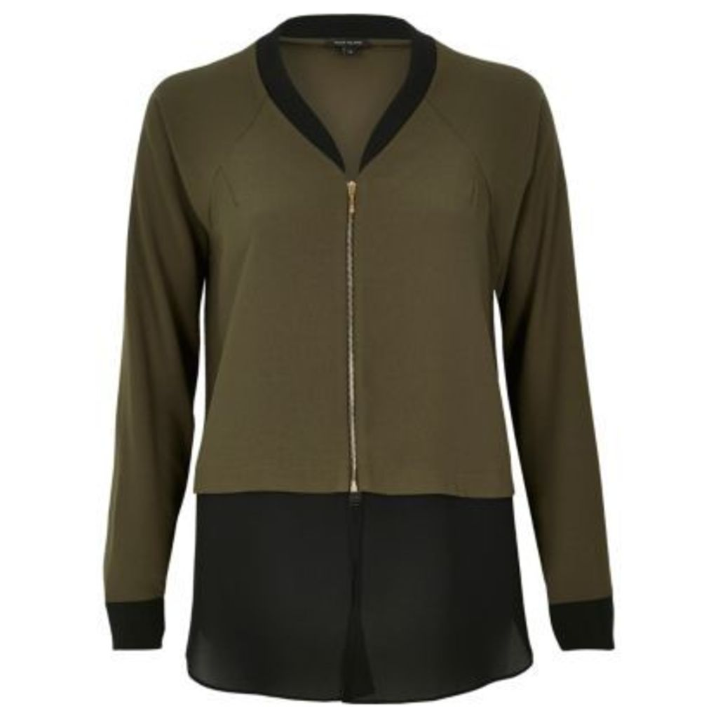 River Island Womens Khaki double layer shirt bomber jacket