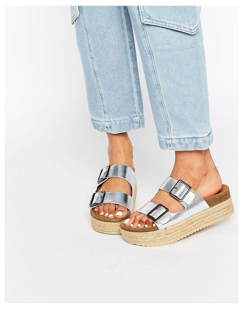 Pull&Bear Silver Platform Sandals - Silver