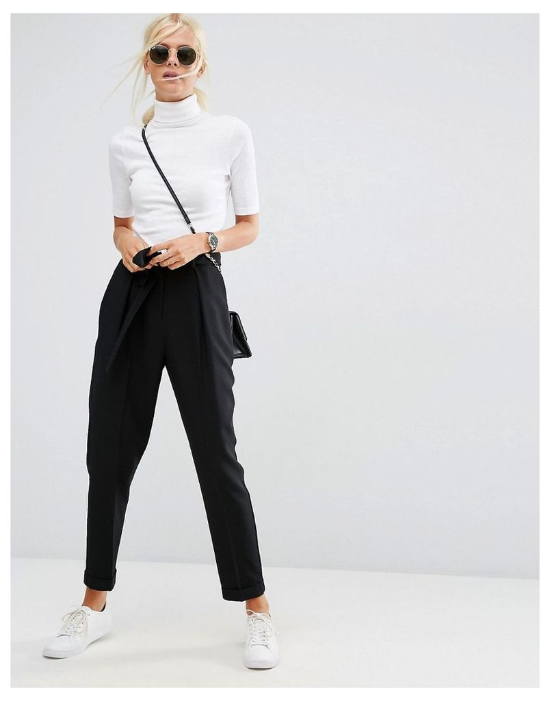 ASOS Woven Peg Trousers with OBI Tie - Black