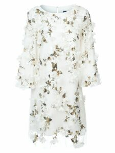 Marchesa Notte floral appliqué dress - White