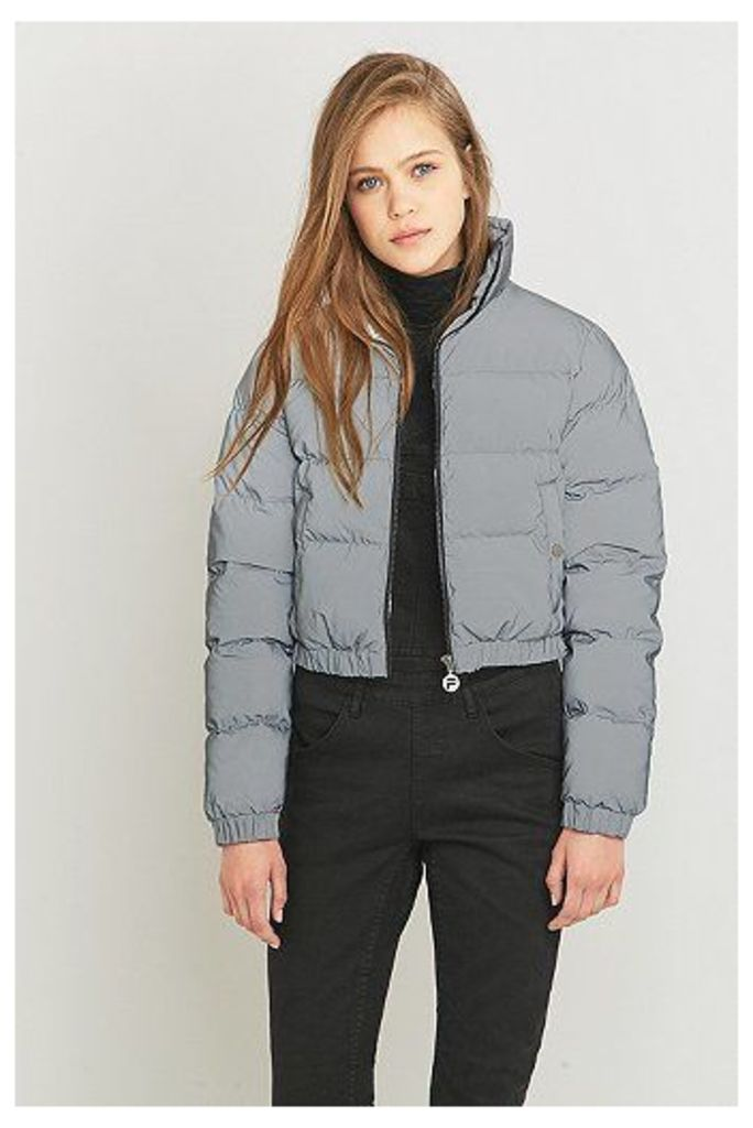 fila puffer jacket. uo exclusive fila toto reflective silver cropped puffer jacket, jacket r