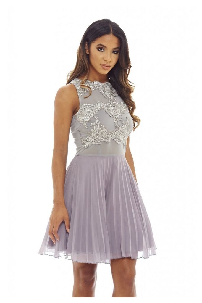 AX Paris Crochet Lace Skater Dress Grey
