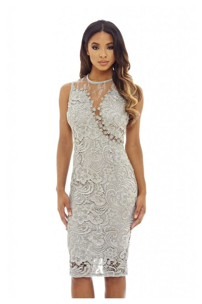 AX Paris Sleeveless Lace Mesh Bodycon Midi Grey