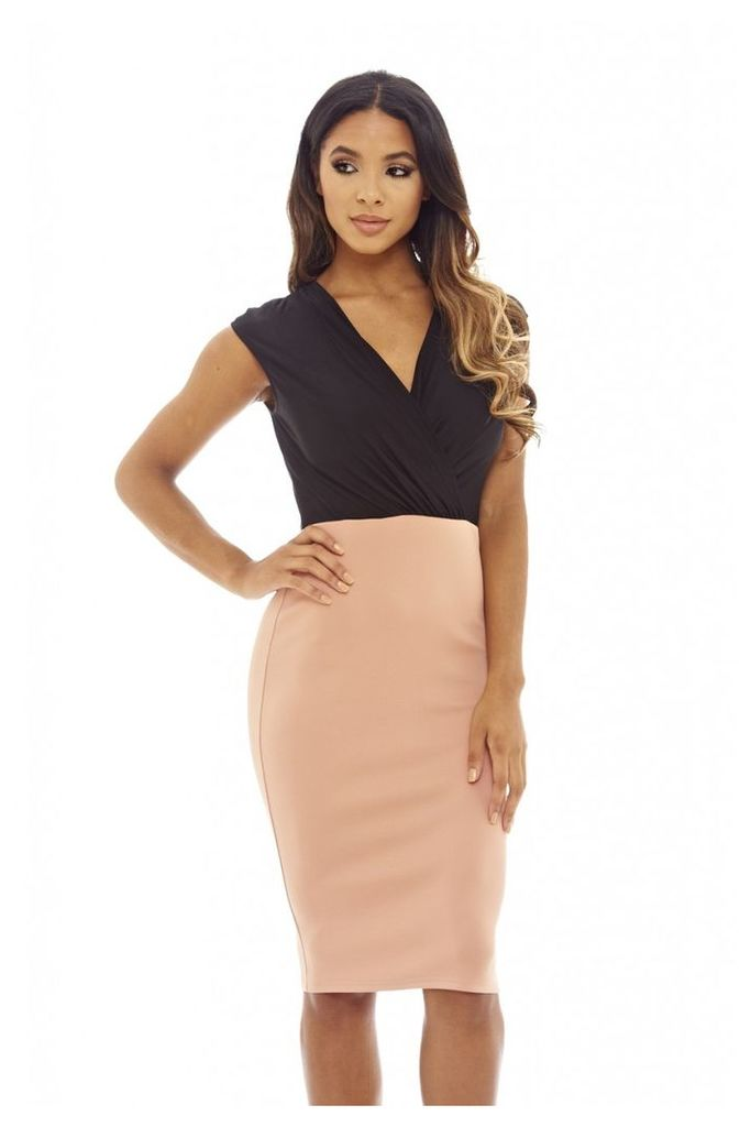 AX Paris Wrap Top Midi Dress Blush