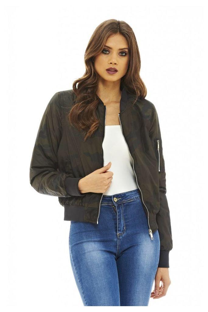 AX Paris Camo Bomber Jacket Khaki