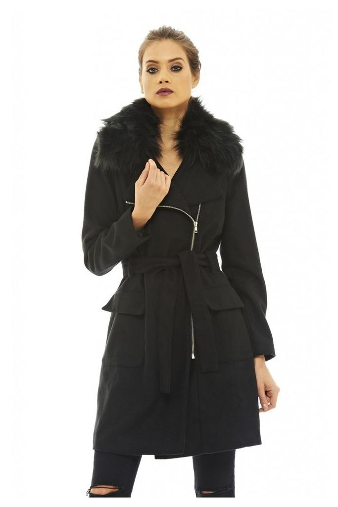 AX Paris Fur Collar Midi Coat Black