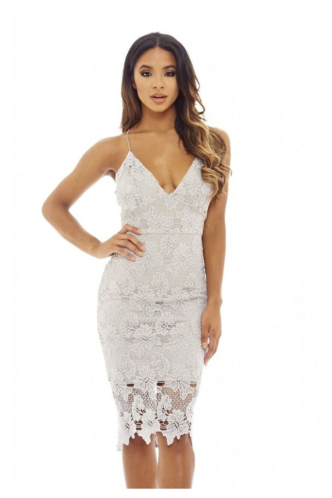 AX Paris Lace V Neck Midi Dress Grey