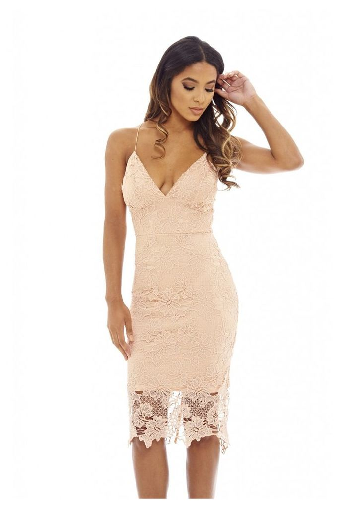 AX Paris Lace V Neck Midi Dress Pink