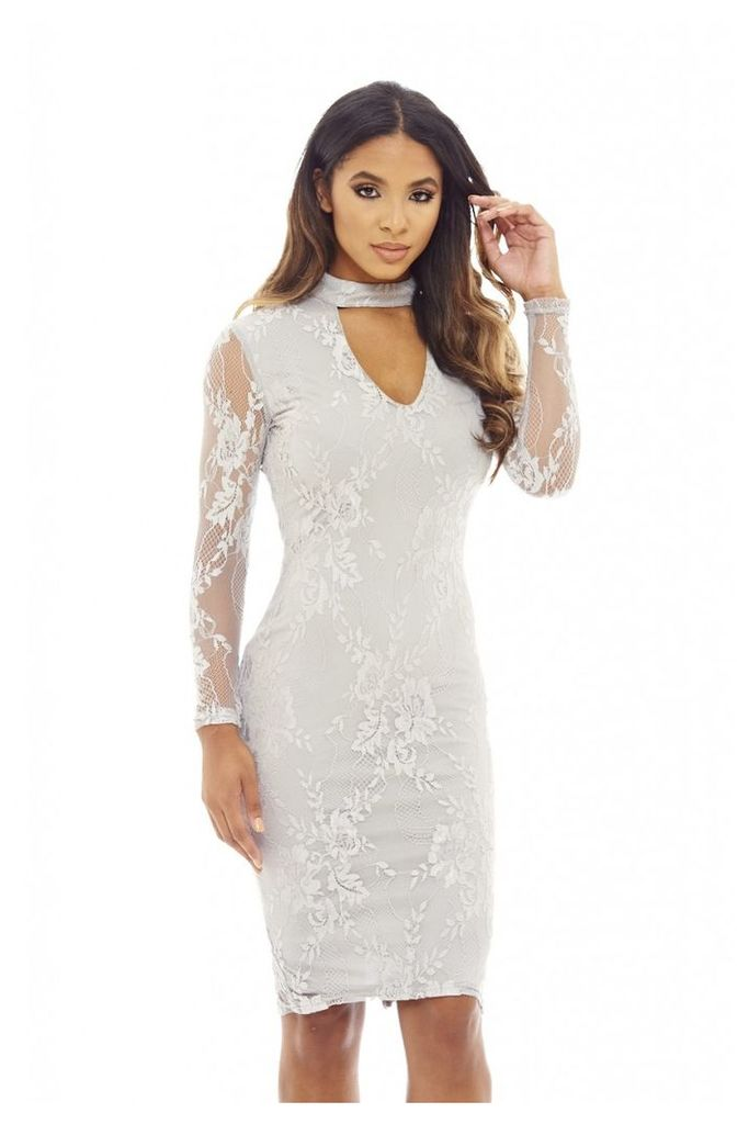AX Paris Choker Lace Midi Dress Grey