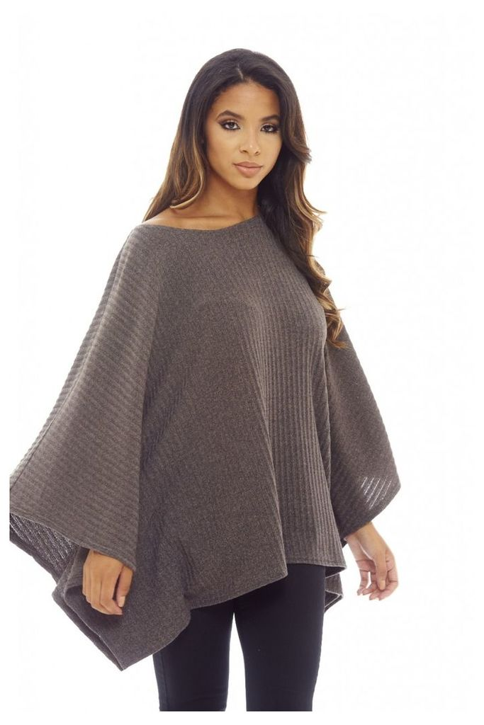 AX Paris Cape Batwing Top Grey