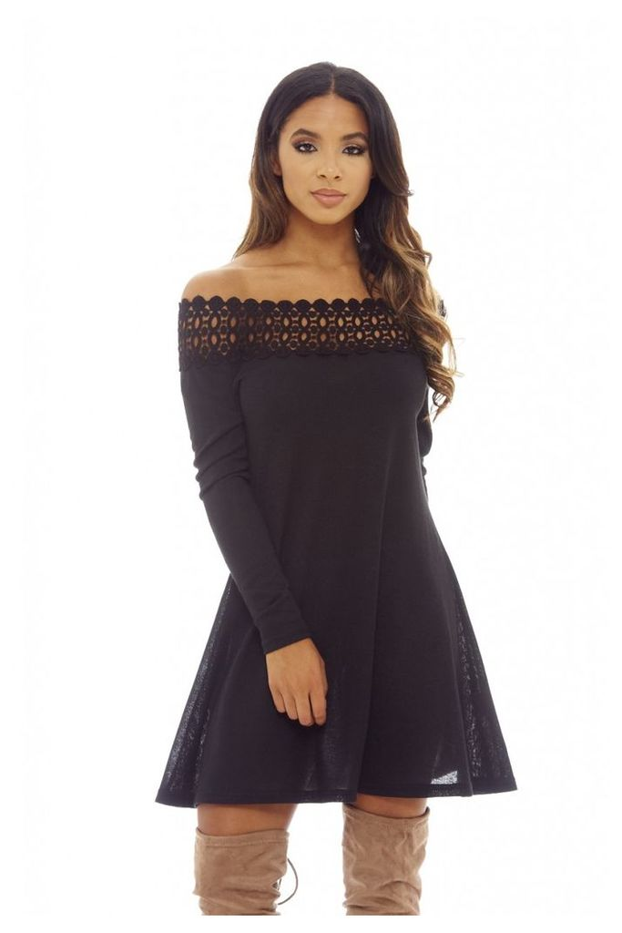 AX Paris Crochet Off Shoulder Jumper Dress