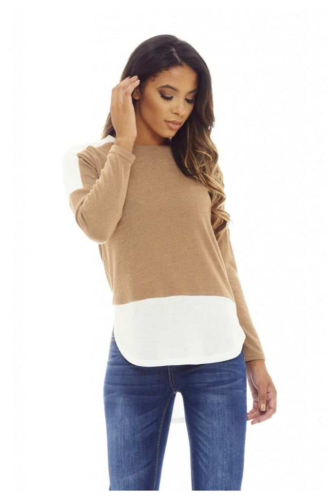 AX Paris Knitted Insert Top Camel