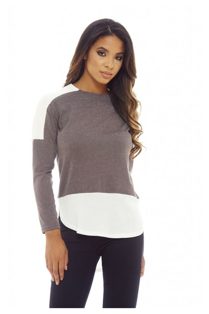 AX Paris Knitted Insert Top Grey
