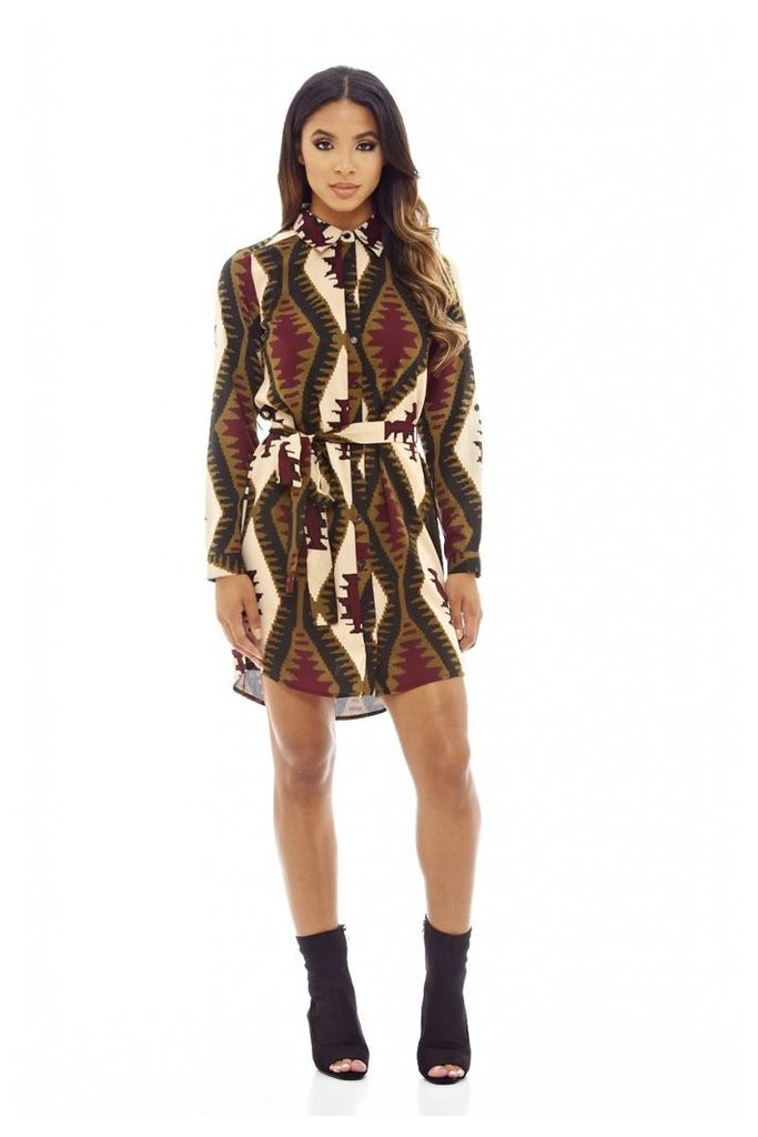 AX Paris Aztec Print Shirt Dress Multi