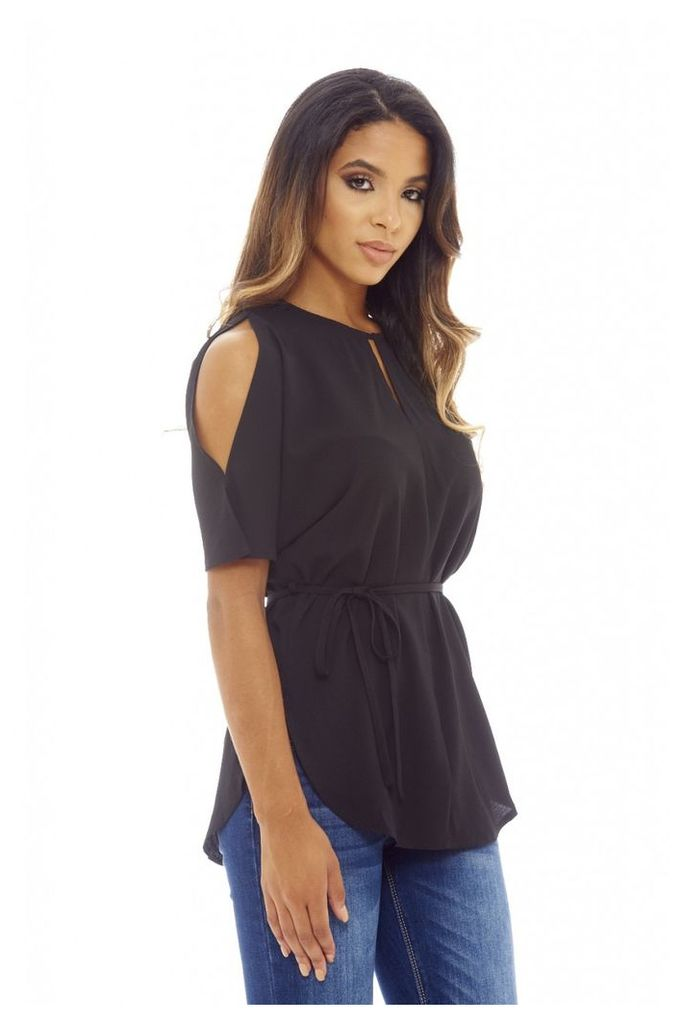 AX Paris Cold Shoulder Tie Waist Top Black