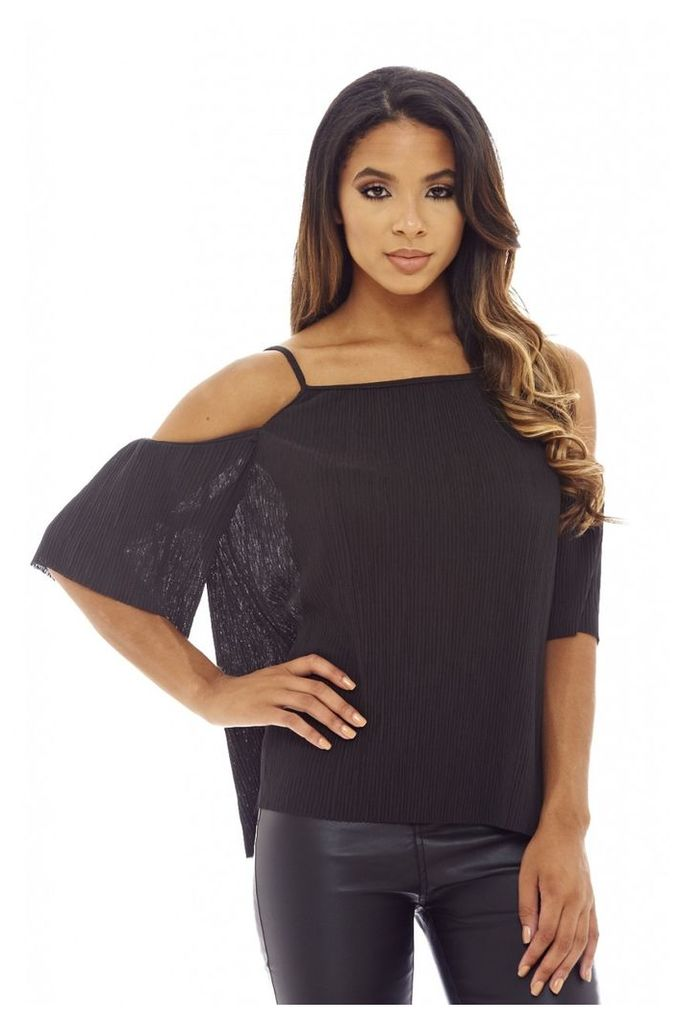 AX Paris Micro Pleated Cold Shoulder Top Black