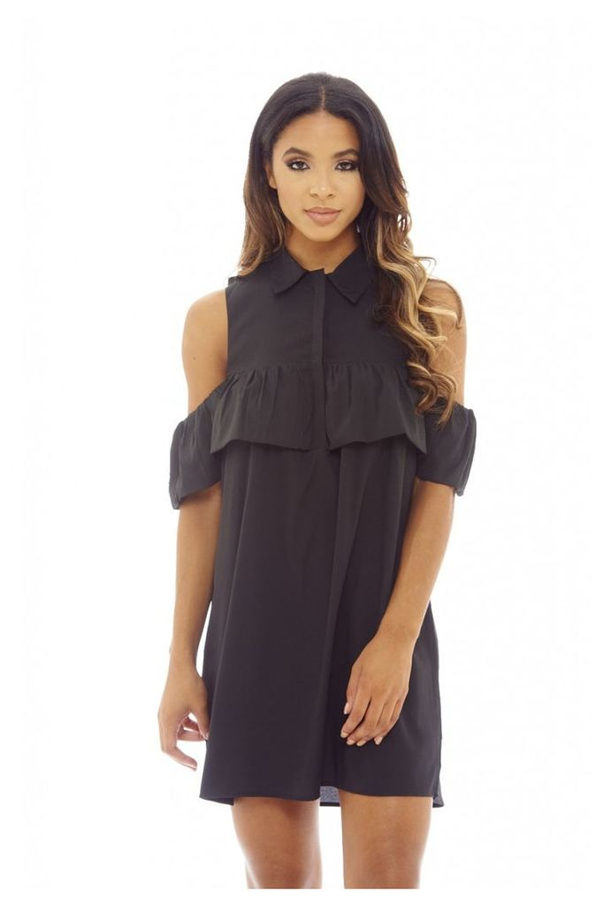 AX Paris Ruffle Cold Shoulder Shirt Dress Black