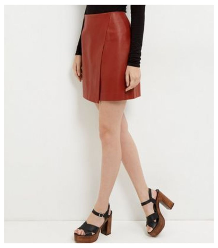 Tan Leather-Look Wrap Mini Skirt