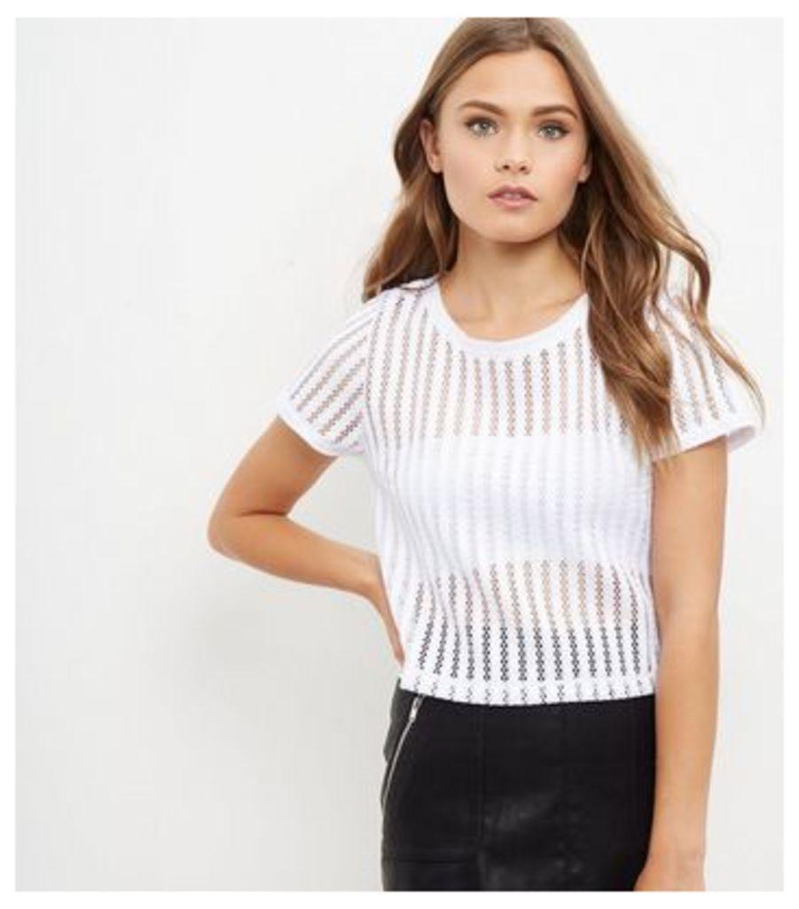 White Airtex Stripe T-Shirt