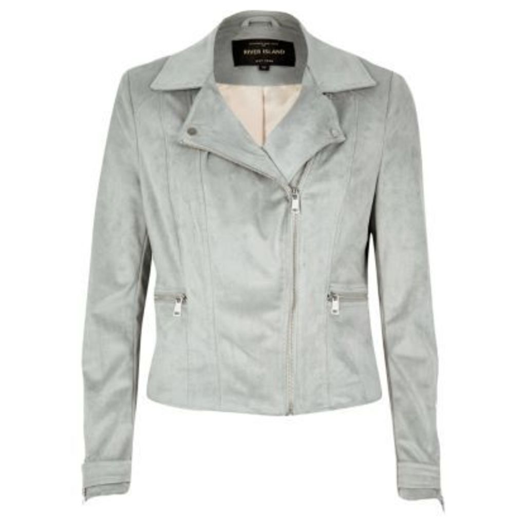River Island Womens Light Grey faux suede biker jacket