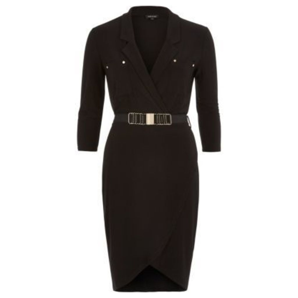 River Island Womens Black belted shirt dress