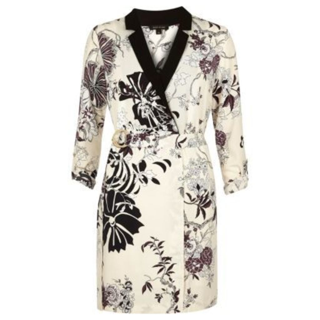 River Island Womens Cream floral print tux dress