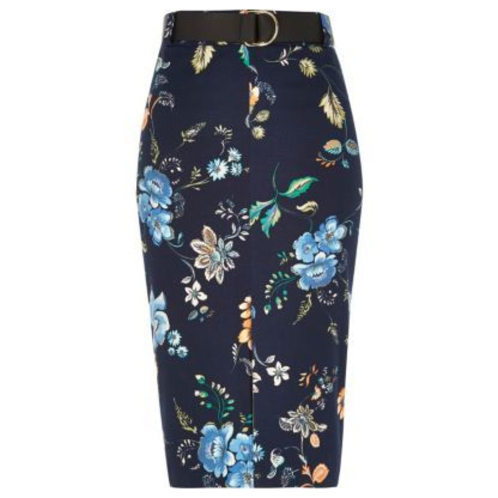 River Island Womens Navy belted pencil skirt