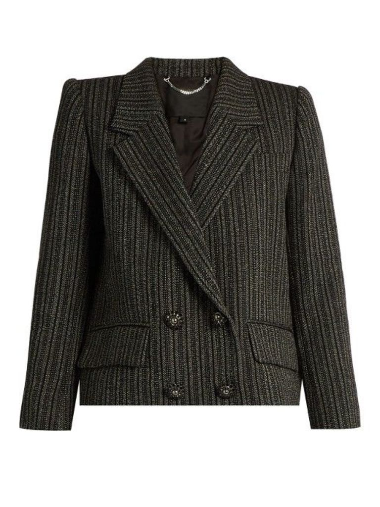 Marc Jacobs - Striped Double Breasted Jacket - Womens - Black Multi