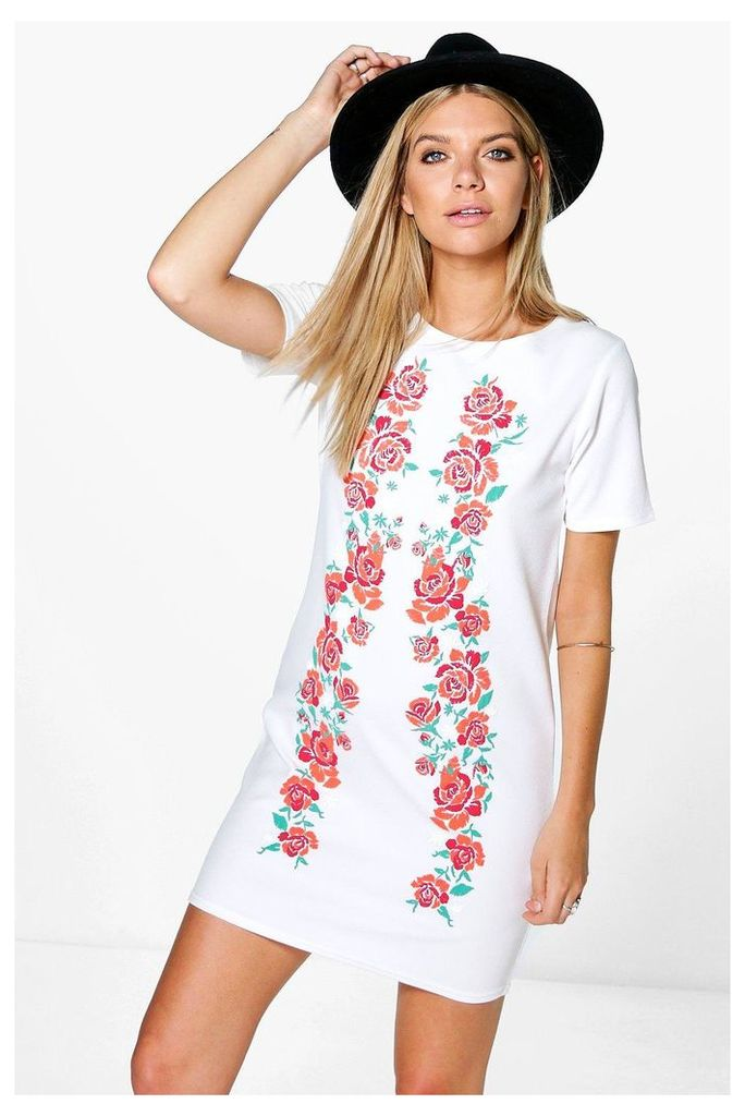 Printed Embroidered Shift Dress - white