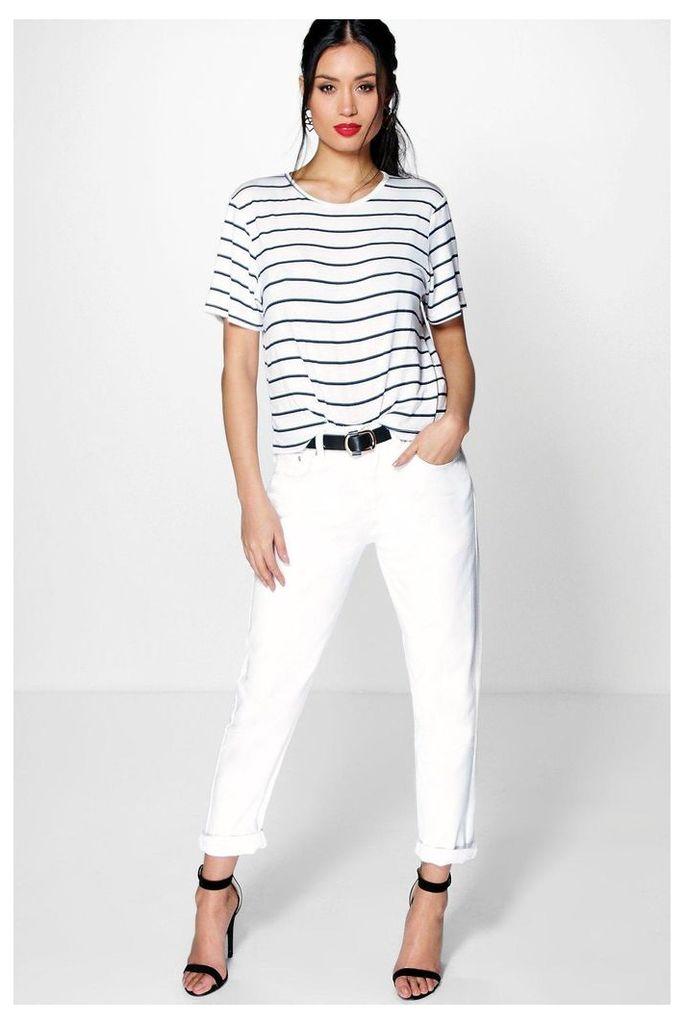 Mid Rise White Boyfriend Jeans white