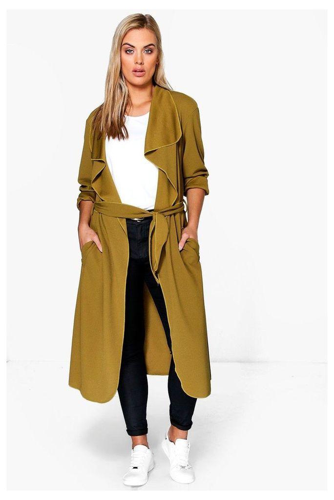 Belted Shawl Collar Coat - khaki