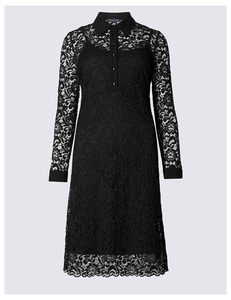 M&S Collection Lace Long Sleeve Shirt Dress
