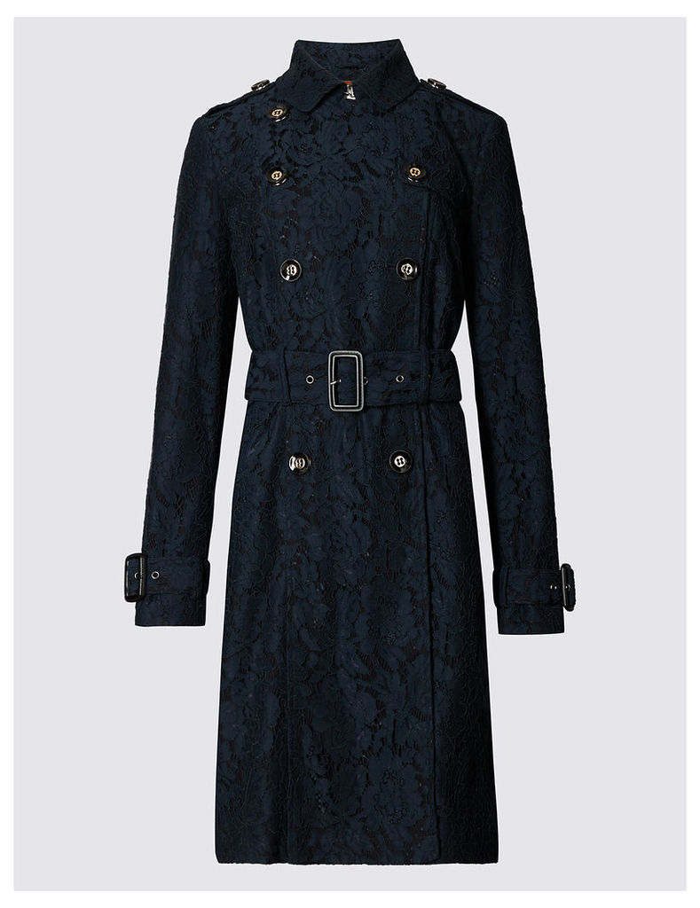 Per Una Cotton Blend Lace Trench Collared Coat