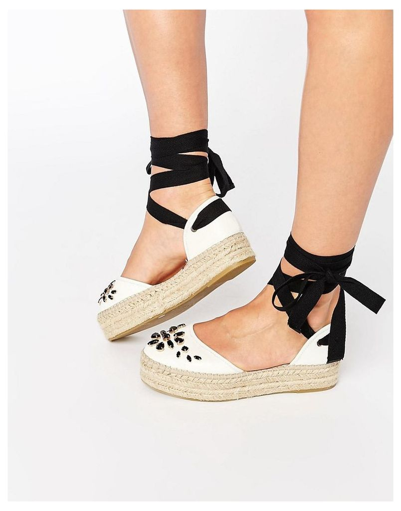Carvela Leather Embellished Espadrille - White leather