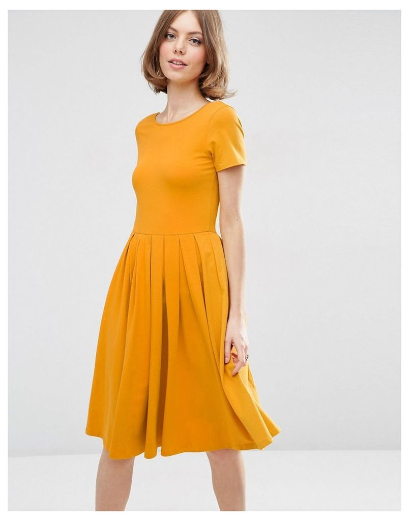 ASOS Midi Pleated Skater Dress with Scoop Back - Mustard