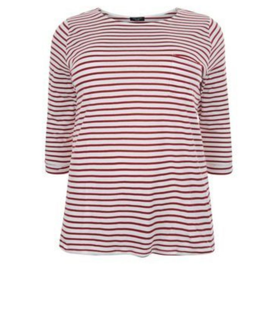 Curves Red Stripe 3/4 Sleeve Top