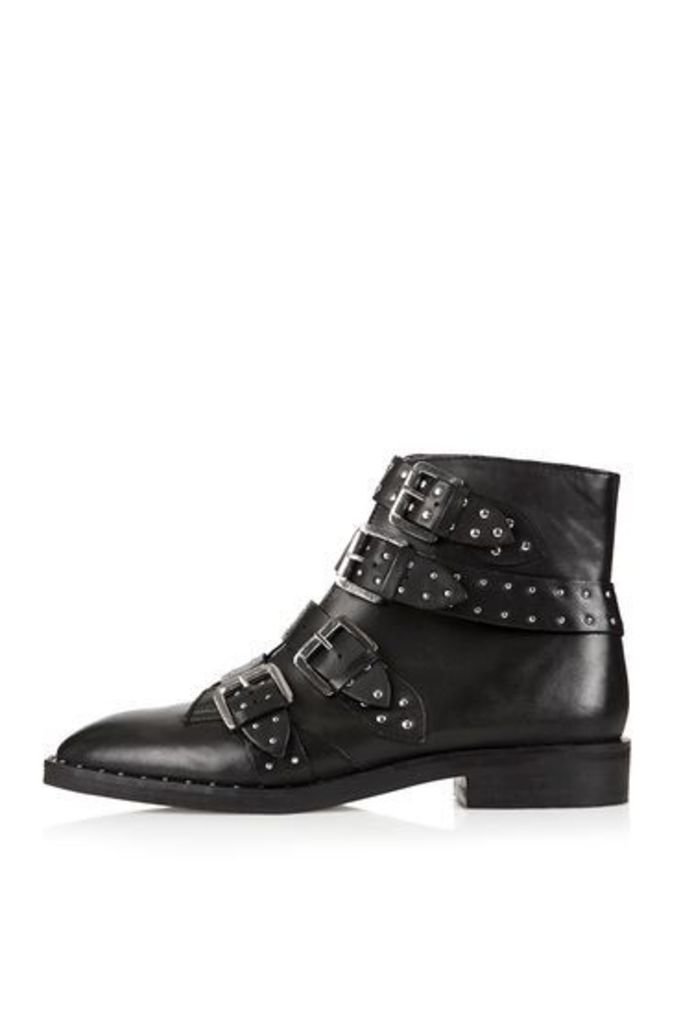 Womens AMY Studded Ankle Boots - Black, Black
