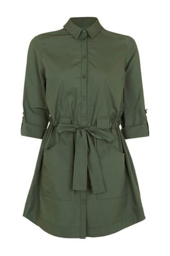 Womens Poplin Belted Shirt Dress - Khaki, Khaki