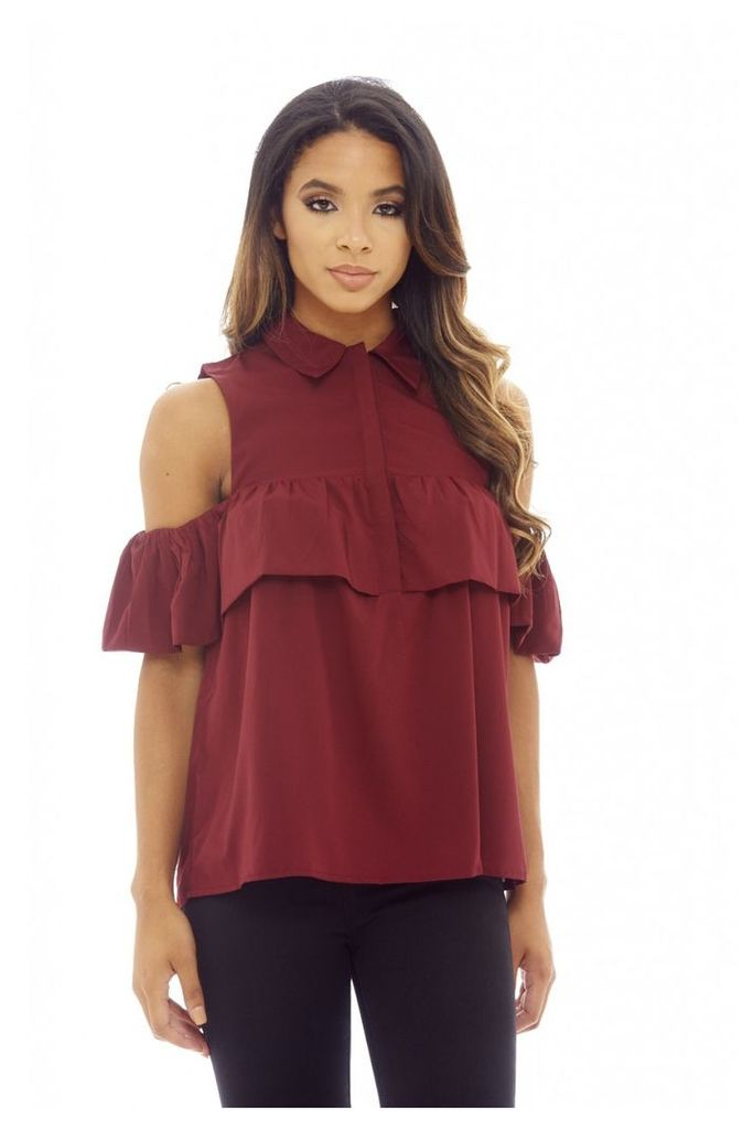 AX Paris Ruffle Cold Shoulder Button Up Top Wine