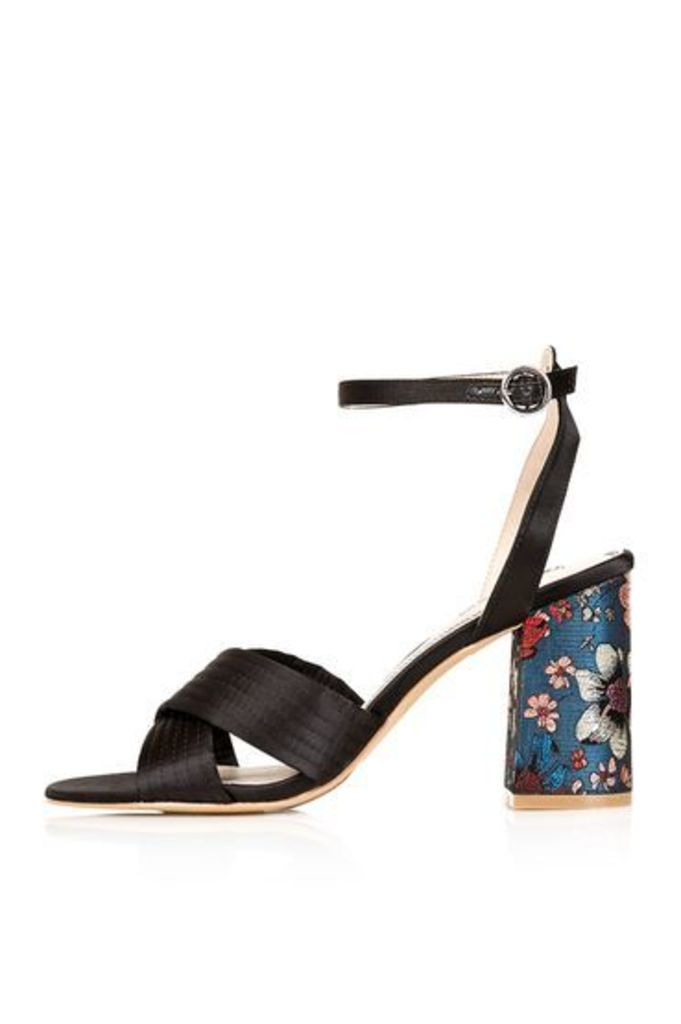 Womens RICH Satin Cross Strap Sandals - Black, Black