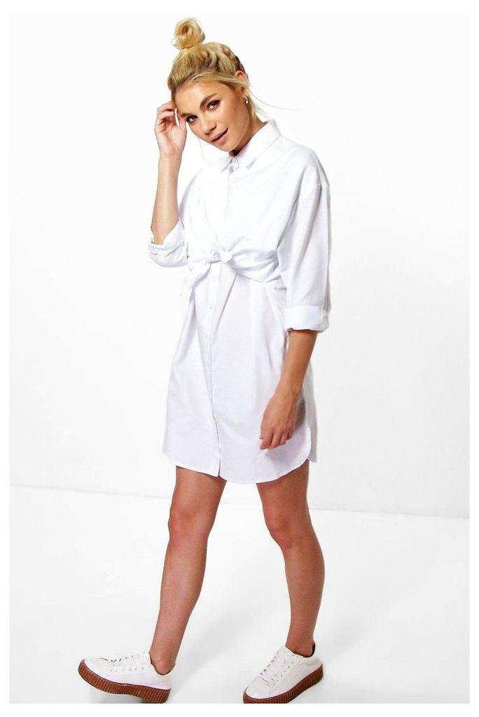 Tie Front Shirt Dress - white