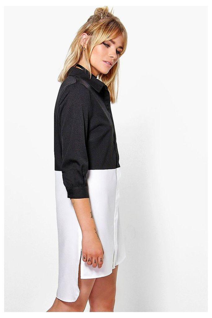 Colour Block Shirt Dress - white