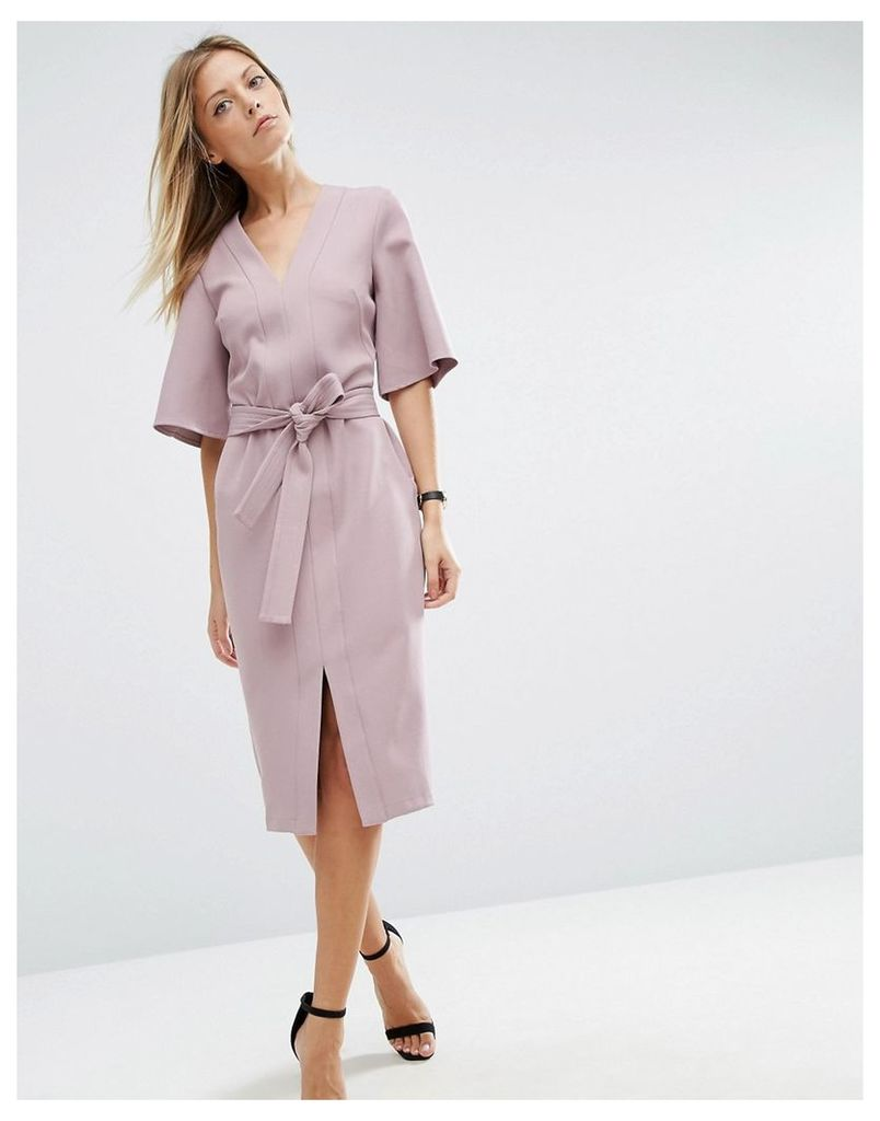 ASOS Clean Obi Wrap Dress with V Front - Lilac