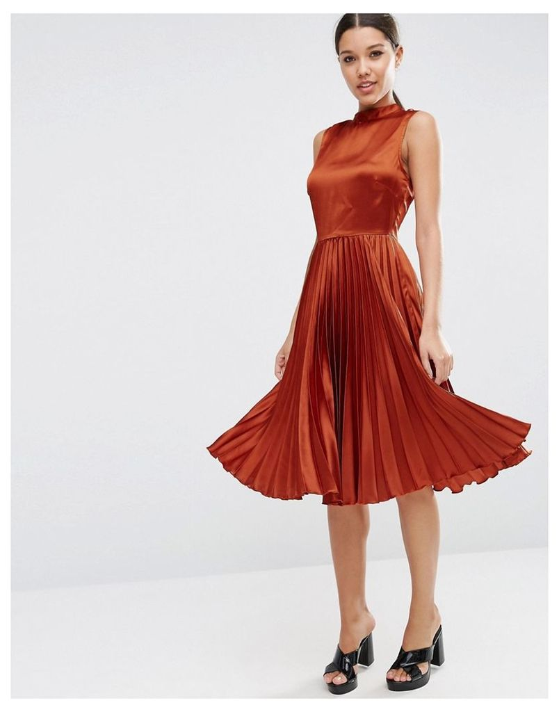 ASOS Sleeveless Pleated Midi Dress in Satin with High Neck - Tan